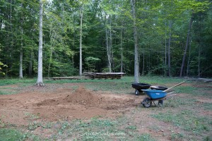 The much smaller remaining pile of dirt. :)