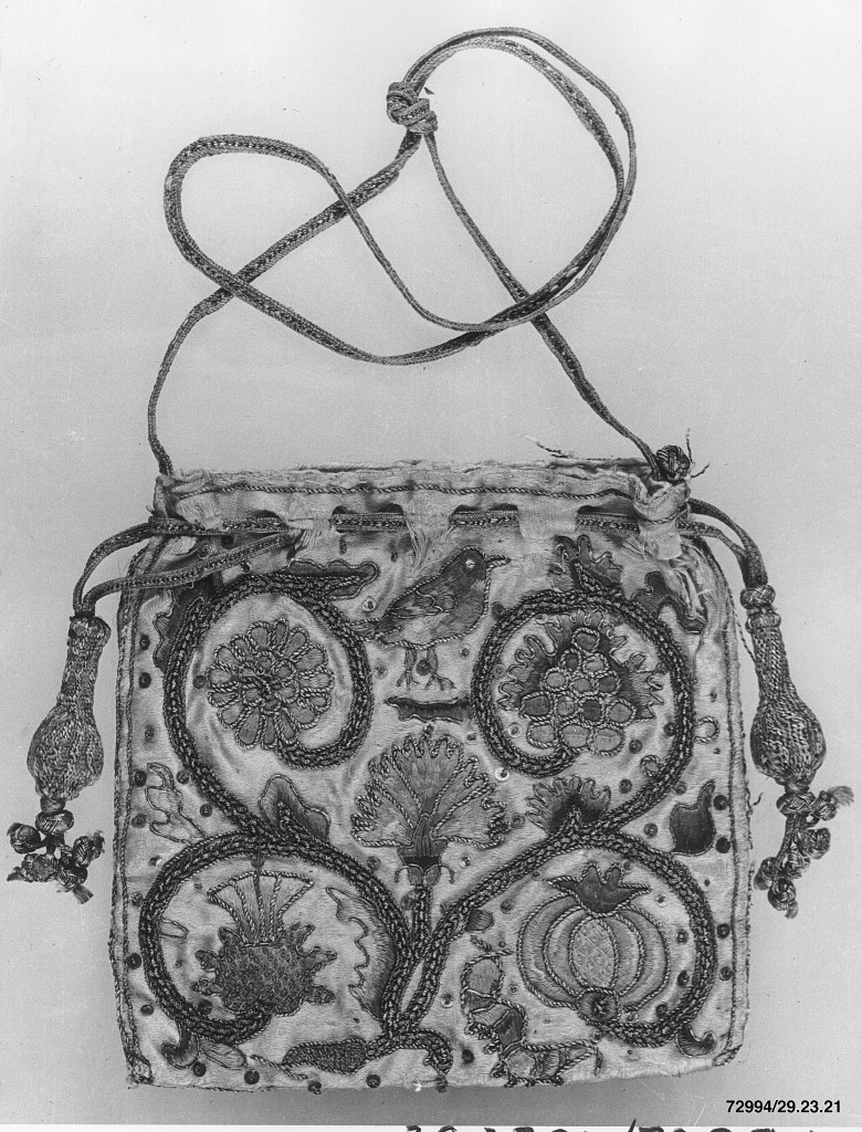 Bag, first half 17th century British, Silk and metal thread; L. 4 5/8 x W. 4 5/8 inches (11.7 x 11.7 cm) The Metropolitan Museum of Art, New York, Rogers Fund, by exchange, 1929 (29.23.21) http://www.metmuseum.org/Collections/search-the-collections/222248